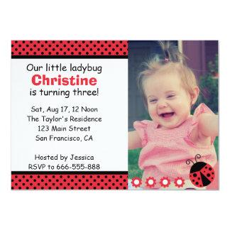 Cute Ladybug birthday party, Turns 3, polka dots Card