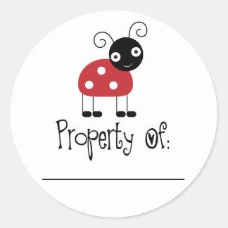 Cute Ladybug Bookplate Stickers