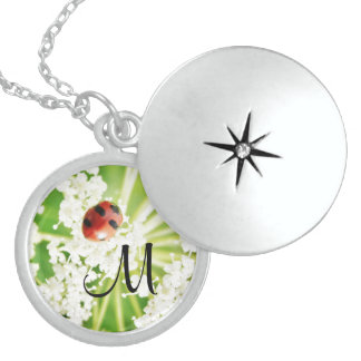 cute Ladybug costume personalized name gift Round Locket Necklace