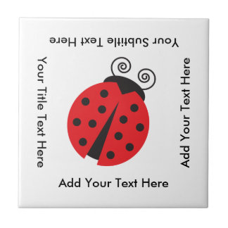 Cute Ladybug Drawing Ceramic Tile