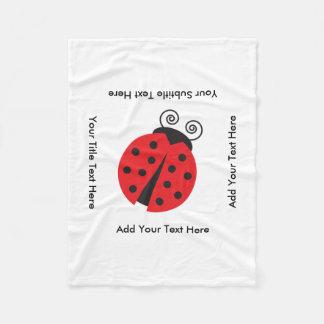 Cute Ladybug Drawing Fleece Blanket