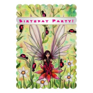 Cute Ladybug Fairy Fantasy Girls Birthday Invite