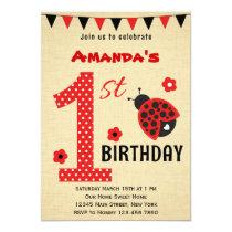 Cute Ladybug First Birthday Invitation
