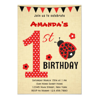 "Cute Ladybug First Birthday Invitation 5"" X 7"" Invitation Card"