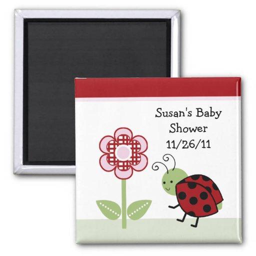 Cute Ladybug & Flower Baby Shower Magnet