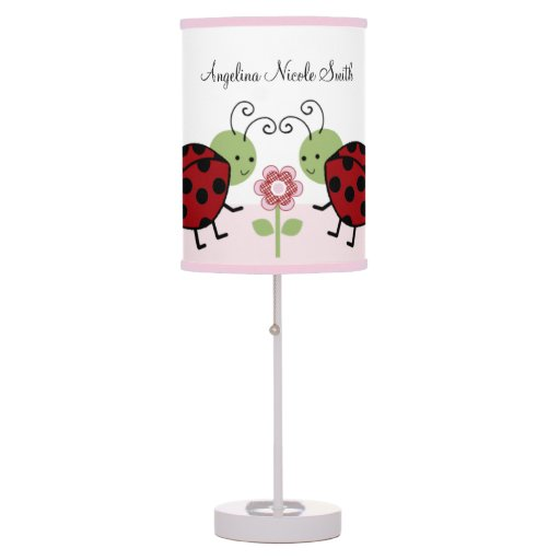 Cute Ladybug & Flowers Pink/Girl Baby Nursery Lamp