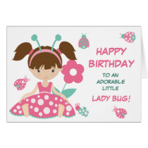 Cute Ladybug Girl Birthday Card