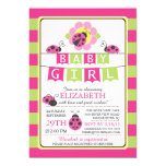 Cute Ladybug Girls Baby Shower Invitation
