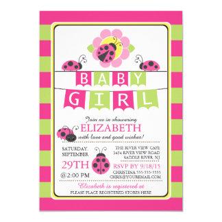 "Cute Ladybug Girls Baby Shower Invitation 5"" X 7"" Invitation Card"