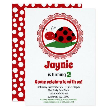 Cute Ladybug Girls Birthday Invitation
