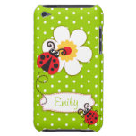 Cute ladybug girls name green ipod touch case