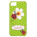 Cute ladybug girls name green red iphone 5 case