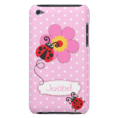 Cute Ladybug Girls Name Pink Ipod Touch Case at Zazzle