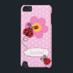 "Cute ladybug girls name pink ipod touch case<br><div class=""desc"">Cute original red ladybug / ladybird on a baby pink polka flowers kids ipod case. Reads Jezabel or you can personalize with your own name. Exclusively designed by Sarah Trett.</div>"