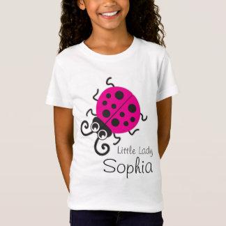 Cute ladybug girls name pink white t-shirt