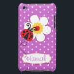 "Cute ladybug girls name purple ipod touch case<br><div class=""desc"">Cute original red ladybug / ladybird on a puprle polka flowers kids ipod case. Reads Hannah or you can personalize with your own name. Exclusively designed by Sarah Trett.</div>"
