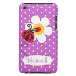 Cute ladybug girls name purple ipod touch case