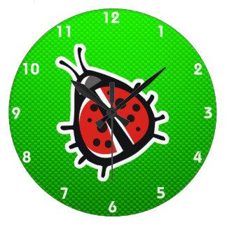 Cute Ladybug; Green Clock