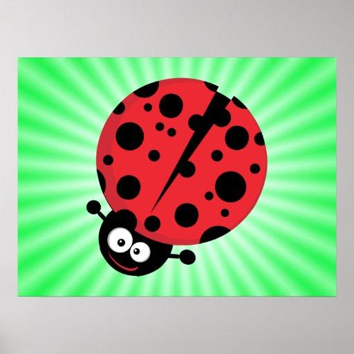 Cute Ladybug; Green Poster