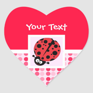 Cute Ladybug Heart Sticker