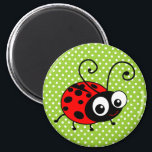 """Cute Ladybug Magnet<br><div class=""""desc"""">ladybug,  ladybugs,  ladybird,  ladybirds,  &quot;lady bug&quot;,  &quot;lady bird&quot;,  red,  black,  &quot;polka dots&quot;,  dots,  spots,  dotty,  green,  bugs,  bug,  insect,  insects,  cute,  sweet,  kawaii,  adorable,  cartoon,  beetle,  beetles,  &quot;cartoon bug&quot;,  &quot;cartoon bugs&quot;,  &quot;cartoon ladybug&quot;,  &quot;cartoon ladybird&quot;,  wildlife,  animals,  nature,  natural,  graphic,  vector,  illustration,  lady</div>"""
