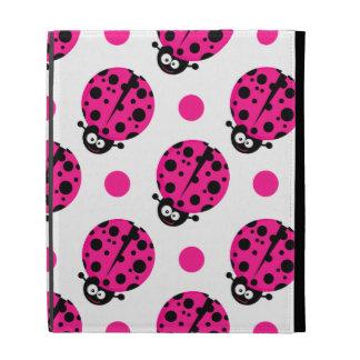Cute Ladybug, Neon Hot Pink & White Polka Dots iPad Folio Cases