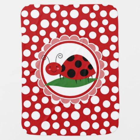 Cute Ladybug On A Leaf - Girls Red Black Baby Blanket