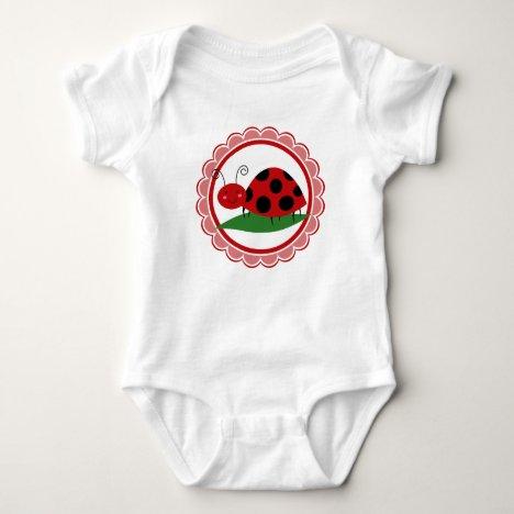 Cute Ladybug On A Leaf - Girls Red Black Baby Bodysuit