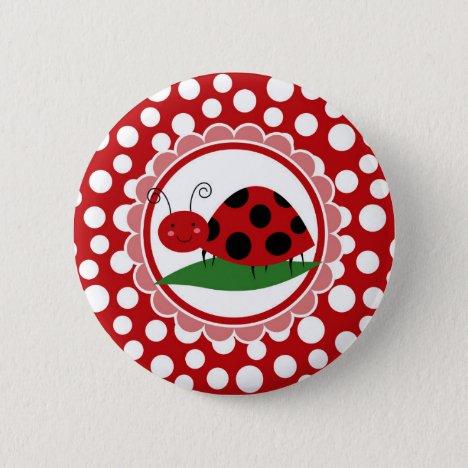 Cute Ladybug On A Leaf - Girls Red Black Button
