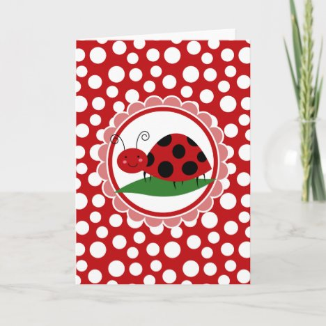 Cute Ladybug On A Leaf - Girls Red Black Card