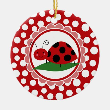Cute Ladybug On A Leaf - Girls Red Black Ceramic Ornament