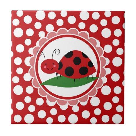 Cute Ladybug On A Leaf - Girls Red Black Ceramic Tile