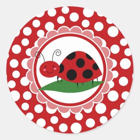 Cute Ladybug On A Leaf - Girls Red Black Classic Round Sticker