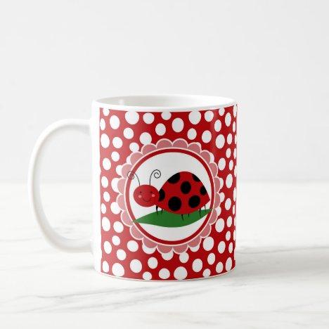 Cute Ladybug On A Leaf - Girls Red Black Coffee Mug