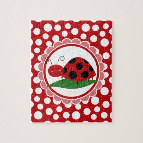 Cute Ladybug On A Leaf - Girls Red Black Jigsaw Puzzle