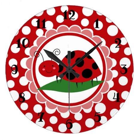 Cute Ladybug On A Leaf - Girls Red Black Large Clock