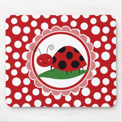 Cute Ladybug On A Leaf - Girls Red Black Mouse Pad