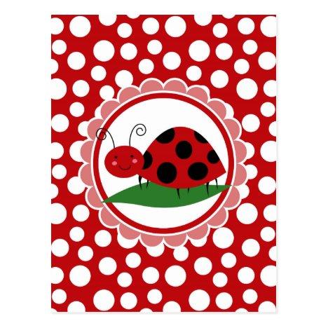 Cute Ladybug On A Leaf - Girls Red Black Postcard
