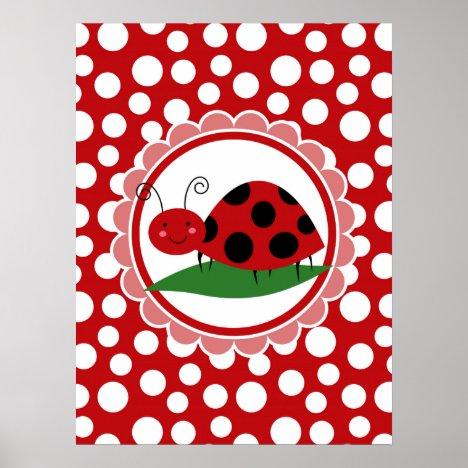 Cute Ladybug On A Leaf - Girls Red Black Poster