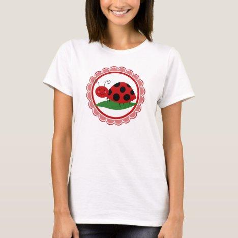 Cute Ladybug On A Leaf - Girls Red Black T-Shirt
