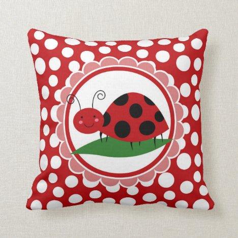 Cute Ladybug On A Leaf - Girls Red Black Throw Pillow
