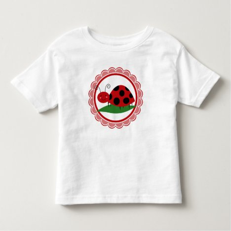Cute Ladybug On A Leaf - Girls Red Black Toddler T-shirt