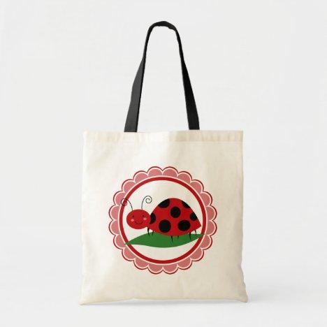 Cute Ladybug On A Leaf - Girls Red Black Tote Bag