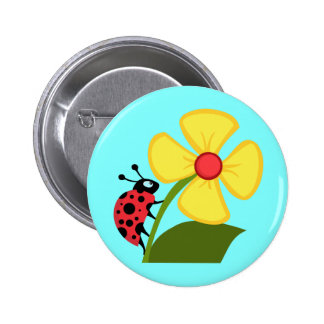 Cute Ladybug on a Yellow Flower Button