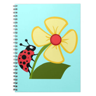 Cute Ladybug on a Yellow Flower Note Book
