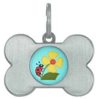 Cute Ladybug on a Yellow Flower Pet Name Tag