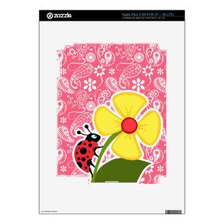 Cute Ladybug on Brink Pink Paisley Floral Skins For iPad 3