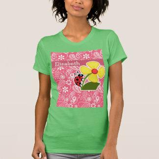 Cute Ladybug on Brink Pink Paisley; Floral T-Shirt