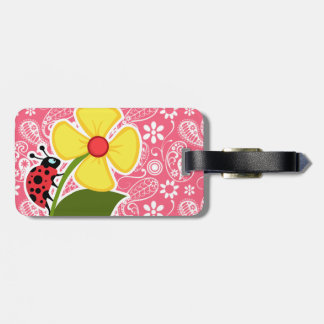 Cute Ladybug on Brink Pink Paisley; Floral Tag For Luggage