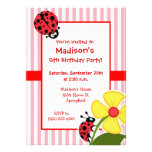 Cute Ladybug on Bubble Gum Pink Stripes Custom Announcements